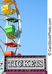 Ticket Booth - Ticket booth at carnival - ferris wheel in...