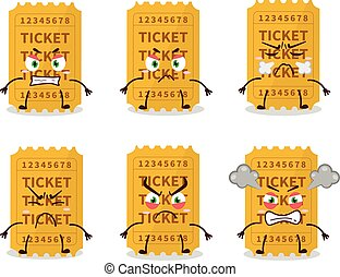 Ticket cartoon character with various angry expressions