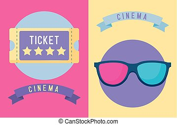 ticket cinema with glasses 3d icon