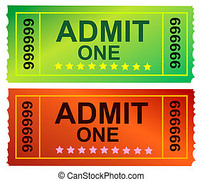 Ticket  - Photo of a Admit One Ticket and cinema ticket