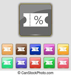 ticket discount icon sign. Set with eleven colored buttons for your site. Vector