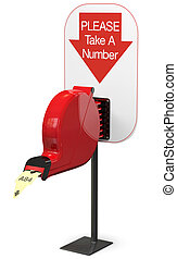 Ticket dispenser isolated on white background with support stand. Includes pro clipping path