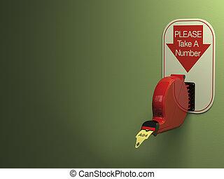 Ticket Dispenser - Ticket dispenser on dull green...