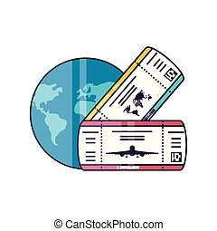 ticket flight document with world planet