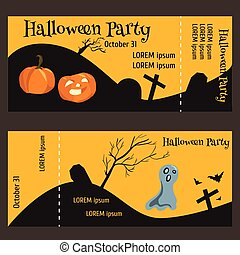 ticket for halloween-party, two-sided, with a tear-off portion.