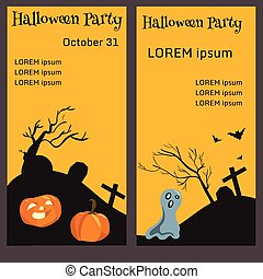 ticket for halloween-party, vector illustration