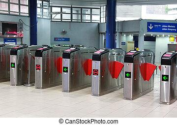 Ticket gate at Masjid Jamek LRT - Ticket gate at Masjid ...