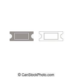 Ticket grey set icon .