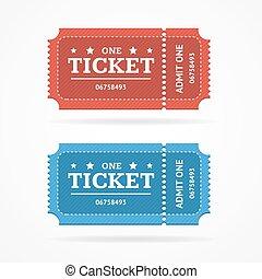 Ticket Icon Blank Admit Set Retro Old Style. Vector