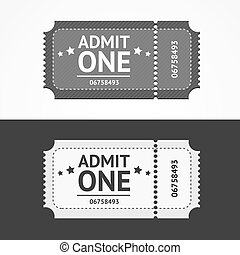 Ticket Icon Blank Admit Set. Vector