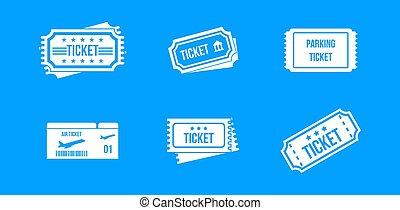 Ticket icon blue set