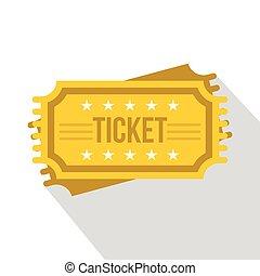Ticket icon, flat style