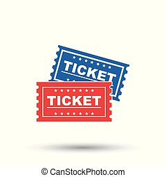 Ticket icon. Flat vector illustration. Ticket sign symbol with shadow on white background.