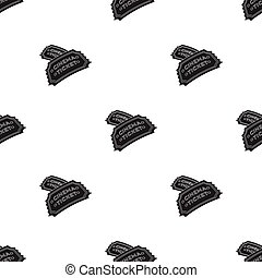 Ticket icon in black style isolated on white background. Films and cinema pattern stock vector illustration.