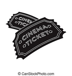 Ticket icon in black style isolated on white background. Films and cinema symbol stock vector illustration.