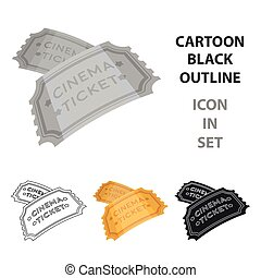 Ticket icon in cartoon style isolated on white background. Films and cinema symbol stock vector illustration.