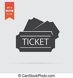 Ticket icon in flat style isolated on grey background.