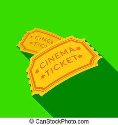 Ticket icon in flat style isolated on white background. Films and cinema symbol stock vector illustration.