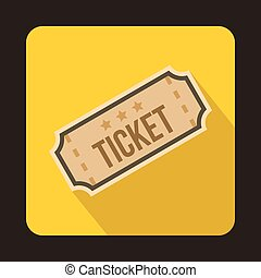 Ticket icon in flat style