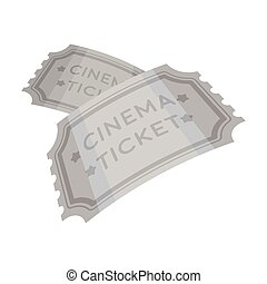 Ticket icon in monochrome style isolated on white background. Films and cinema symbol stock vector illustration.