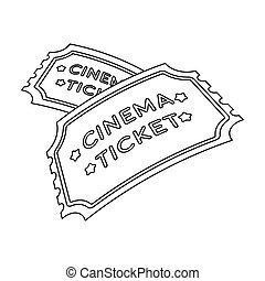 Ticket icon in outline style isolated on white background. Films and cinema symbol stock vector illustration.
