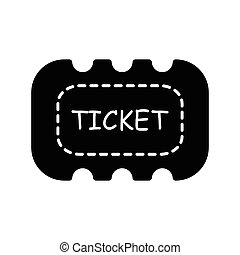 Ticket icon on white background  black color