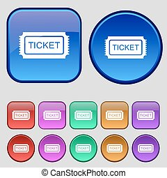 Ticket icon sign. A set of twelve vintage buttons for your design. Vector