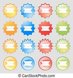 ticket icon sign. Big set of 16 colorful modern buttons for your design. Vector