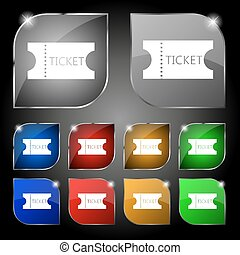 ticket icon sign. Set of ten colorful buttons with glare. Vector