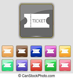 ticket icon sign. Set with eleven colored buttons for your site. Vector