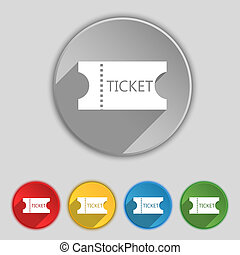 ticket icon sign. Symbol on five flat buttons.