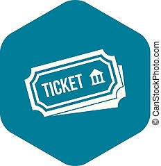 Ticket icon, simple style
