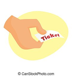 Ticket icon vector illustration in the flat style. stub isolated on a background.