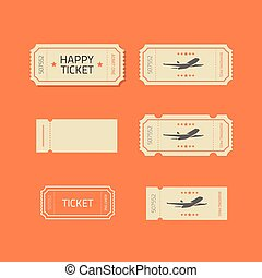 Ticket icons vector set isolated on orange background