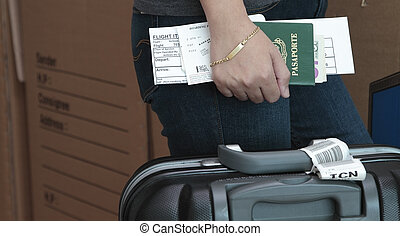 Ticket itinerary - Traveller with passport bording pass and...
