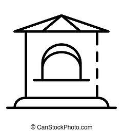 Ticket kiosk icon, outline style