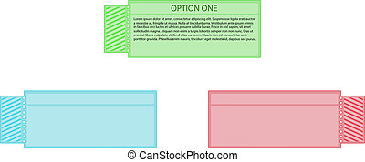 three colors (green, blue, red) of ticket label