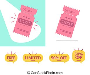 Ticket offer vector illustration set with discount tags.