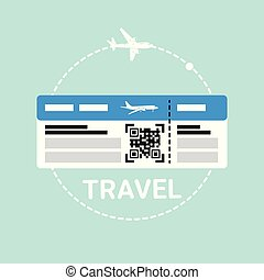 Ticket On Plane Icon Travel Boarding Document