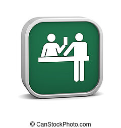 Ticket purchase sign on a white background. Part of a...