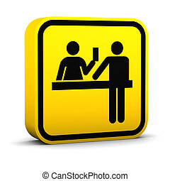 Ticket Purchase Sign - Ticket purchase sign on a white...