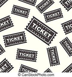 Ticket seamless pattern background icon. Flat vector illustration. Ticket sign symbol pattern.