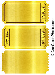 Ticket set. Golden ticket stubs set isolated on white with...
