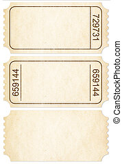 Ticket set. Paper ticket stubs isolated on white with clipping path included.