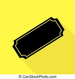 Ticket sign illustration. Black icon with flat style shadow path on yellow background.