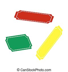 Ticket sign illustration. Isometric style of red, green and yellow icon.