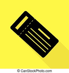 Ticket simple sign. Black icon with flat style shadow path on yellow background.