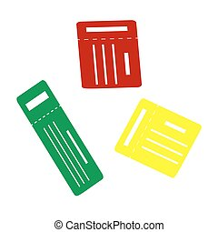 Ticket simple sign. Isometric style of red, green and yellow icon.