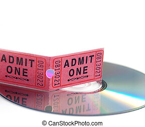 ticket stub and DVD on white, entertainment concept