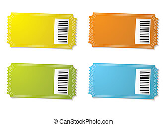 Ticket stub barcode - Four ticket stubs with color variation...